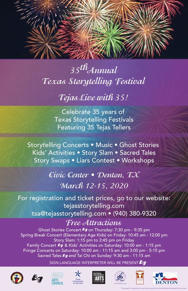 35th Annual Texas Storytelling Festival, March 12-15, 2020. Celebrate 35 years of Texas Storytelling Festivals featuring 35 Tejas Tellers